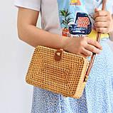 Сумка жіноча прямокутна плетені з ротанга пляжна. Сумочка Балі солом'яний, фото 2