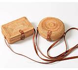Сумка жіноча прямокутна плетені з ротанга пляжна. Сумочка Балі солом'яний, фото 7