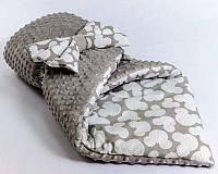 Детский зимний конверт-одеяло на выписку 78 х 85 см Серый с белым принтом (00570К)