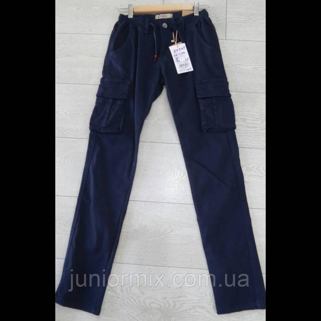 Подростковые синие котоновые брюки с накладными карманами  для мальчиков оптом GRACE