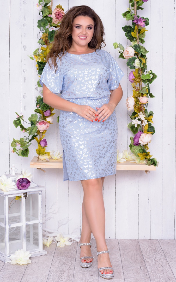 Платье женское короткое прямого кроя с резинкой на талии (К28212)