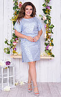 Платье женское короткое прямого кроя с резинкой на талии (К28212), фото 1