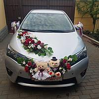 Украшение для свадебного автомобиля в марсаловом цвете