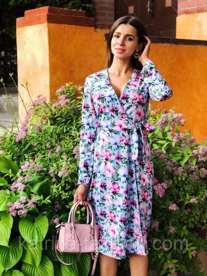 Женское платье на запах с поясом (в расцветках)