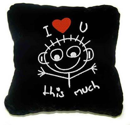"""Сувенирная подушка """"Я люблю тебя очень СИЛЬНО!"""""""