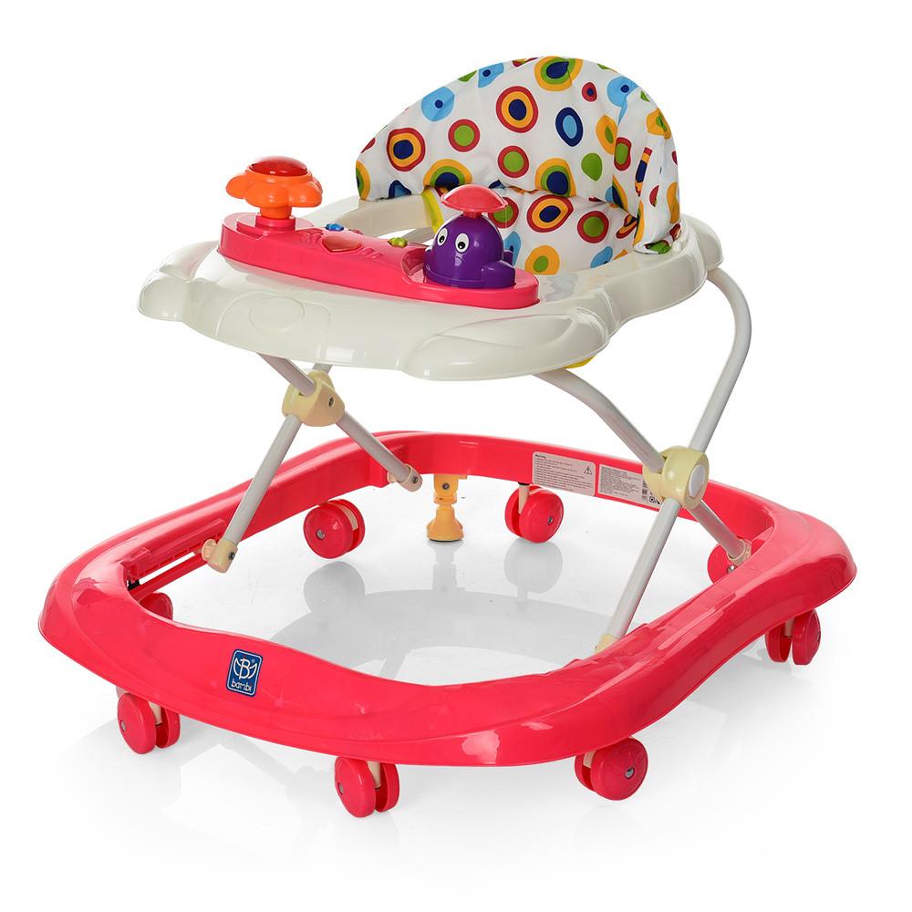 Детские ходунки BAMBI с музыкой и светом М 3664 Red Гарантия качества. Быстрая доставка.