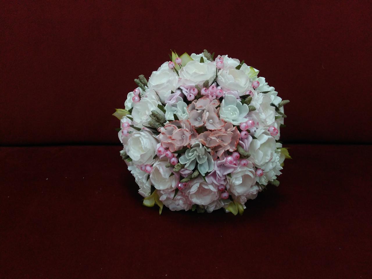 Свадебный букет-дублер из пион нежно-розовый