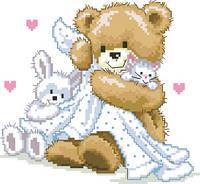 Картина для вышивки крестиком размер А4 Спят усталые игрушки РКан 4008