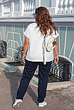 Літній костюм жіночий Турецька двунітка Розмір 52 54 56 В наявності 3 кольори, фото 4