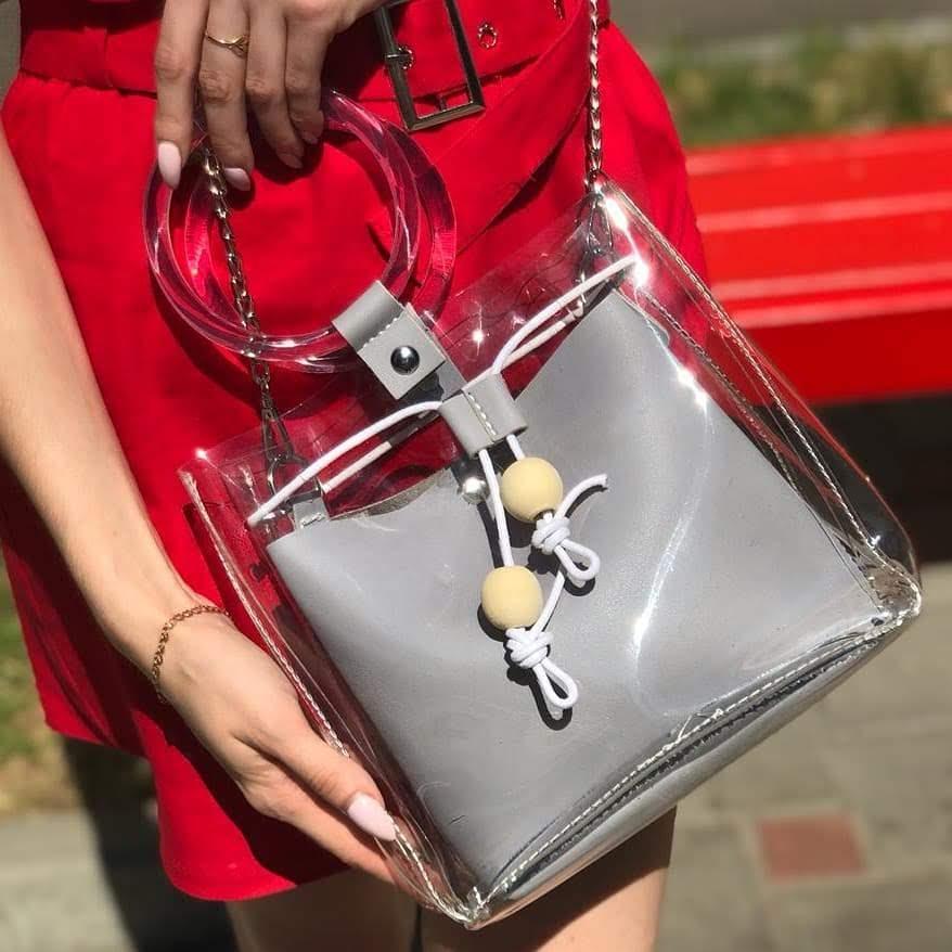 Прозрачная силиконовая сумка c косметичкой на лето, Хит 2019 года!, фото 1