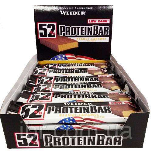 Протеиновый батончик Weider 52% Protein bar 50 g Peanut-caramel 24 шт