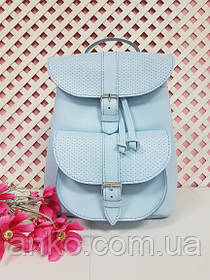 """Рюкзак жіночий """"ВОЯЖ"""" натуральна шкіра, небесно-блакитна з плетінкою"""