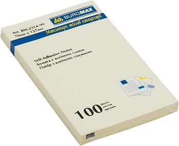 Блок стикеров Buromax 76х127 мм, 100 л., желтый