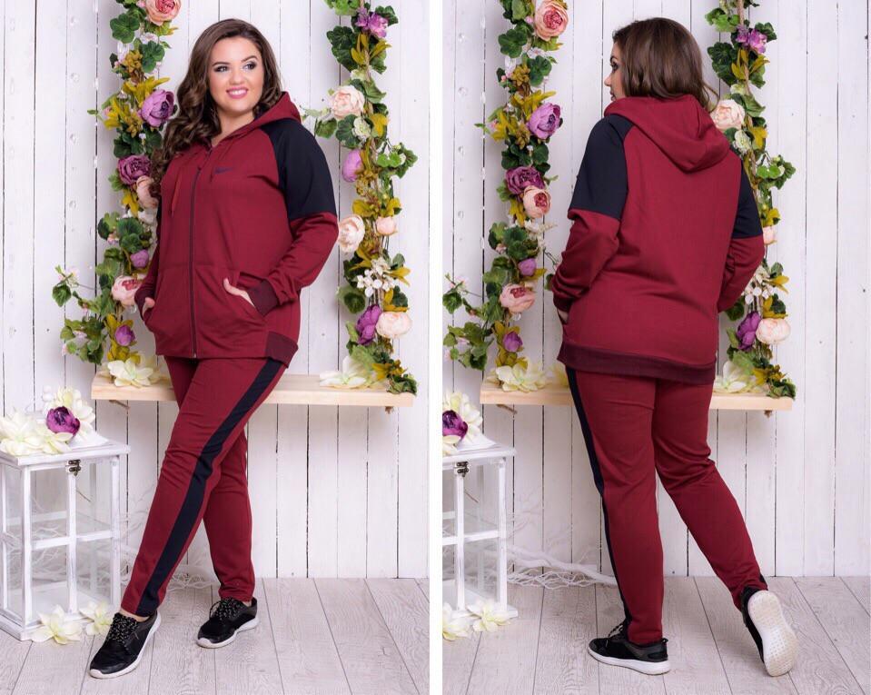 Спортивный костюм женский Турецкая двунитка Размер 50 52 54 56 В наличии 3 цвета - фото 1