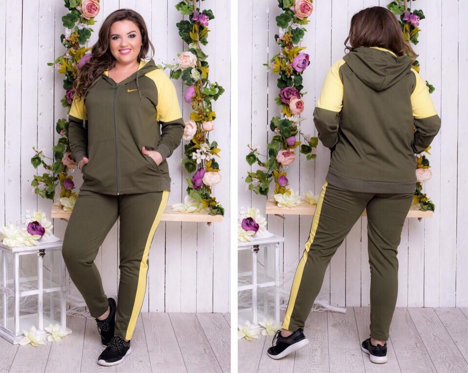 Спортивный костюм женский Турецкая двунитка Размер 50 52 54 56 В наличии 3 цвета - фото 2