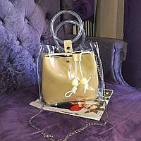Прозрачная силиконовая сумка c косметичкой на лето, Хит 2019 года! Горчица