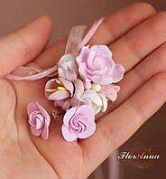 """Комплект с цветами из полимерной глины """"Розовый шарм""""(сеьги и кулон), фото 1"""