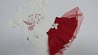 Летний костюм на девочку нарядный боди + фатиновая красная юбка 3.4 года