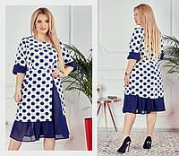 Нарядное женское платье Летняя креп костюмка Размер 48 50 52 54 56 58 В наличии 2 цвета, фото 1