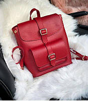 Женский рюкзак-сумка красного цвета из экокожи