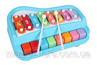 Ксилофон пианино Baoli 8 тонов с карточками (синий)