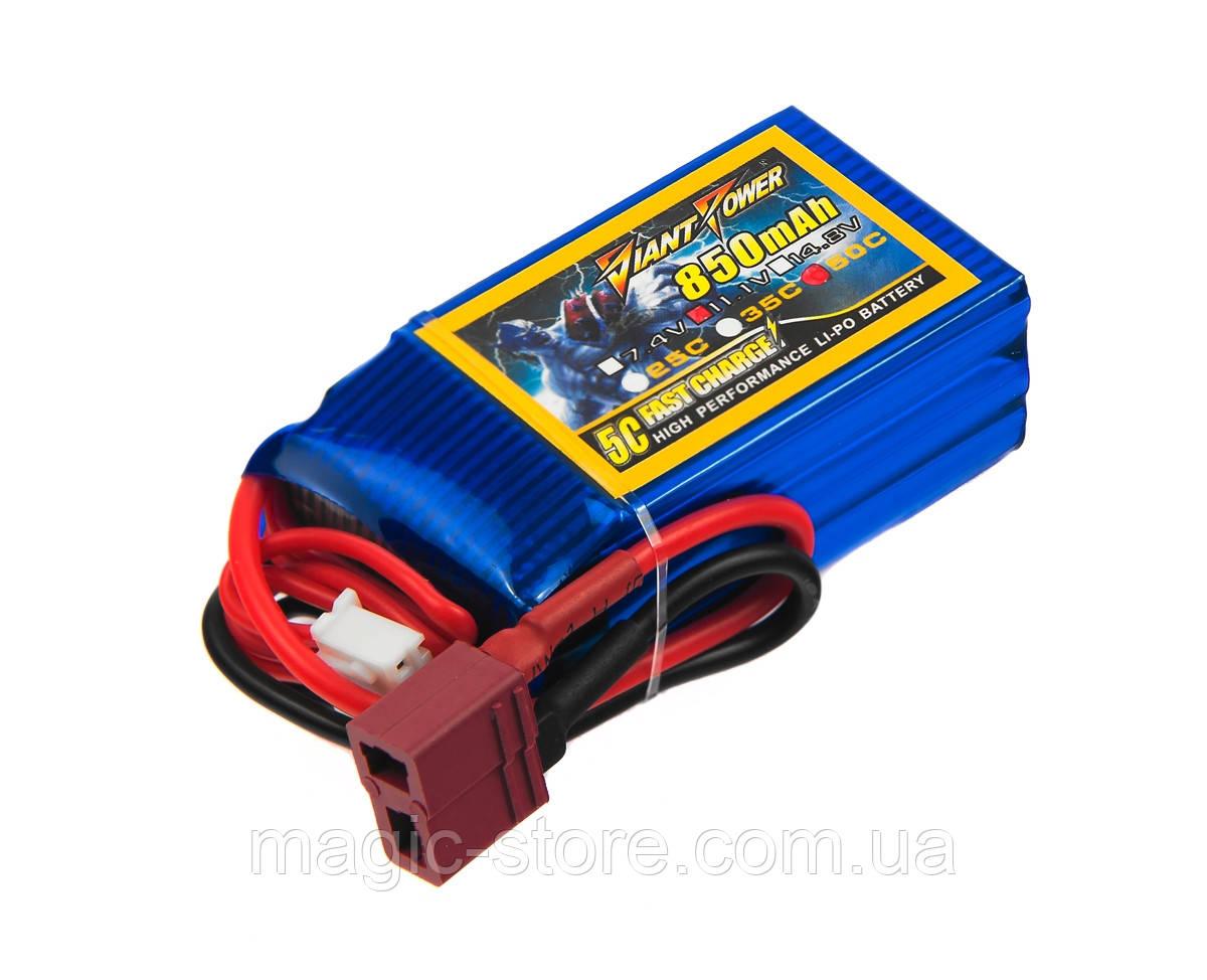 Аккумулятор Giant Power (Dinogy) Li-Pol 850mAh 11.1V 3S 50C 21x30x54мм T-Plug