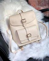 Женский рюкзак-сумка бежевого цвета из экокожи