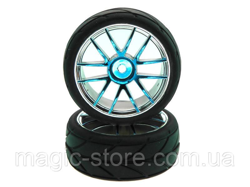 Blue Chrome Rim & Tire Complete (02018PB+02019) 2P