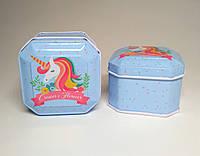 Жестяная коробка Единорог, 6,3х6,3х4,3 см