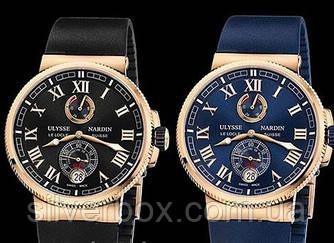 Мужские часы Ulysse Nardin (Улис Нардин) (кварц) чёрные, синие, отличное качество, с линзой