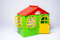 Будинок з шторками малий зелено-червоний