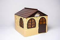 Будинок з шторками середній біжово-коричневий