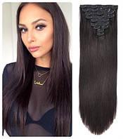 Волосы трессы на заколках ТЕРМО 8 прядей №3  длина 60см темно-каштановый