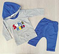 """Детский костюм для мальчика """"Little super hero"""" 12-24 мес, серый и электрик"""