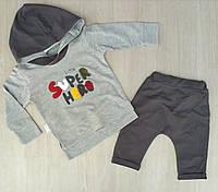 """Детский костюм для мальчика """"Little super hero"""" 12-24 мес, серый с черным"""