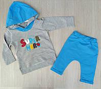"""Детский костюм для мальчика """"Little super hero"""" 12-24 мес, серый с синим"""
