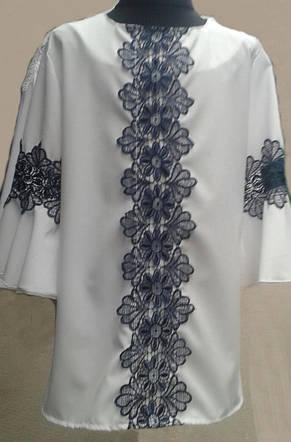 Нарядная блузка с кружевом для девочки в школу, р.122-152, фото 3
