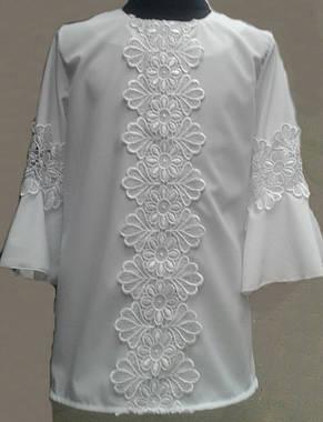 Нарядная блузка с кружевом для девочки в школу, р.122-152, фото 2