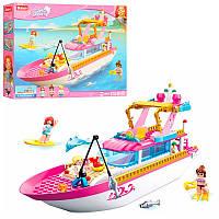 Конструктортипа лего френдс для девочекРозовая мечта - Катер, отдых, рыбалка,SLUBAN M38-B0722