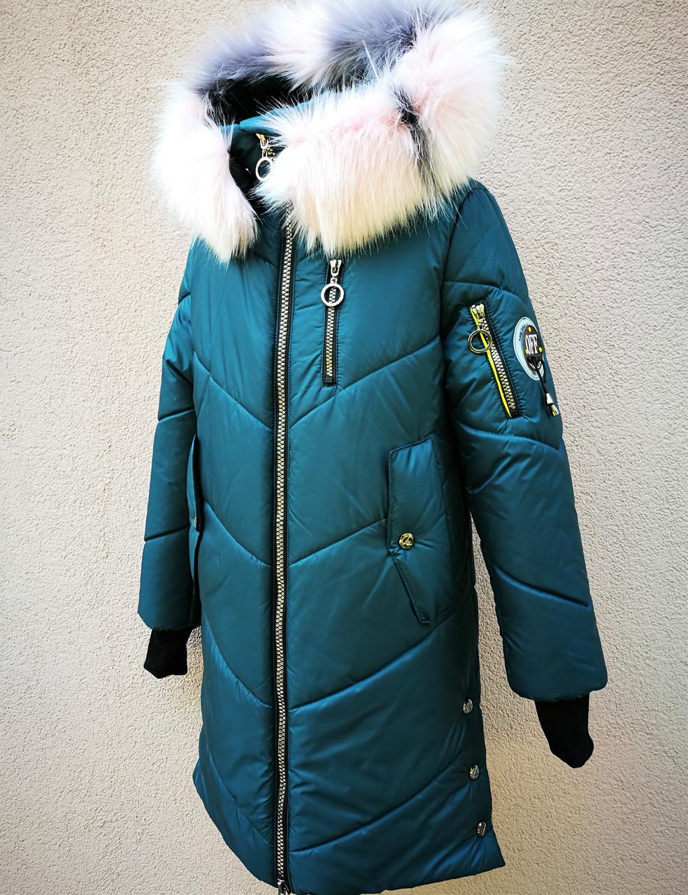 Удлиненное зимнее пальто для девочки подростка.