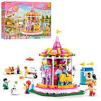 Конструктортипа лего френдс для девочекРозовая мечта - Парк развлечений - карусель,SLUBAN M38-B0725