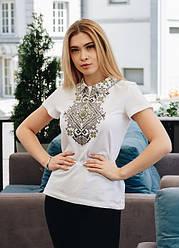 Вышитая женская  футболка орнамент «Виктория» с короткими рукавами