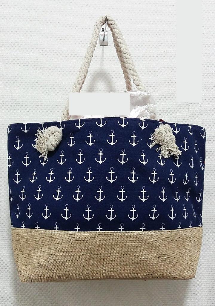 Пляжная женская сумка с якорями