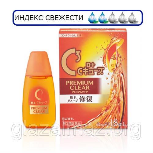 Rohto C3 Premium Clear капли при ношении контактных линз c витамином A, E, Таурином!