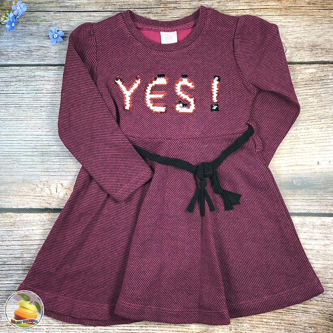 Сиреневое, плотное, платье с длинным рукавом Размеры: 98,104,110,116 см (8747-4)
