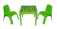 """Комплект стіл """"Абетка англійська""""  і 2 стільця зелений, фото 1"""