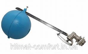 """Клапан поплавковый 1 1/2"""" тяжелый в комплекте с пластиковым шаром 220 мм, стержень 500 мм."""