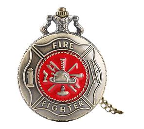 Мужские карманные часы на цепочке подарок пожарнику, фото 2