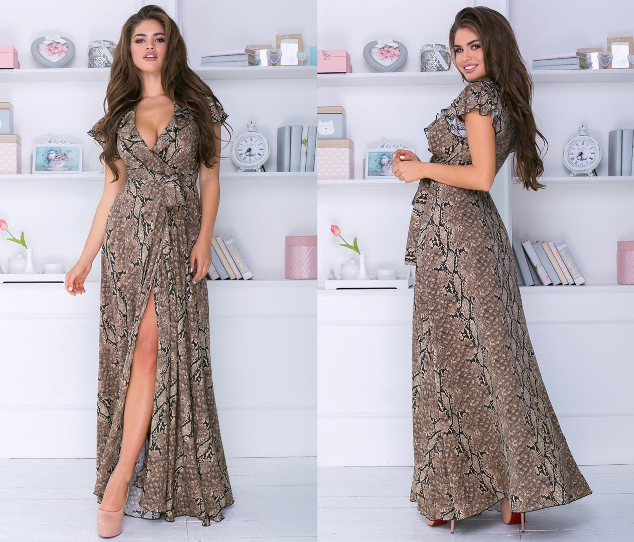 Платье женское длинное из полированого штапеля на запах (К28217)