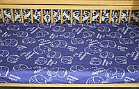"""Сатиновая простынь на резинке """"Слоники на синем"""" (120х60)"""